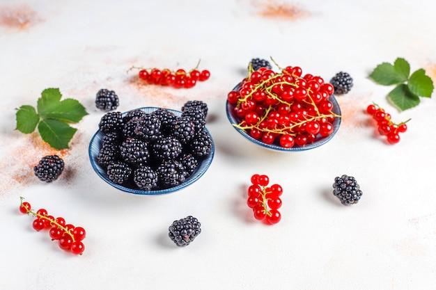 Различные свежие летние ягоды, красная смородина, ежевика, вид сверху.