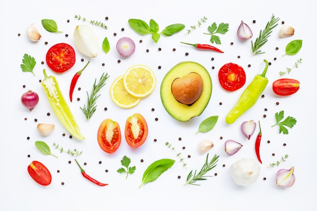 Various fresh vegetables and herbs. healthy eating concept