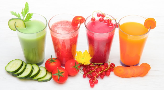 Various freshly vegetable juices