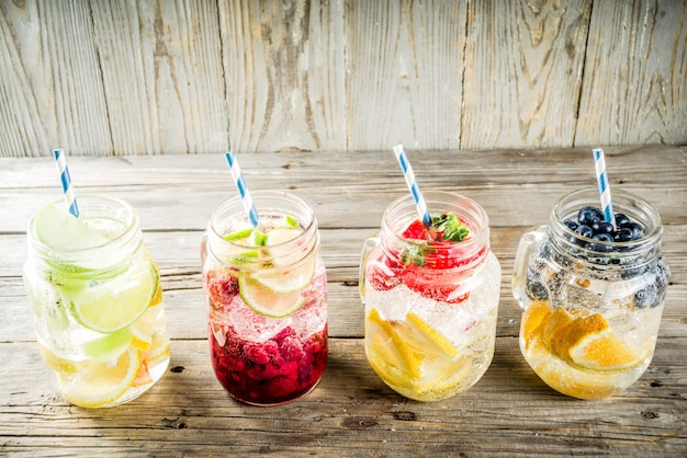 Various fruit and berry lemonades