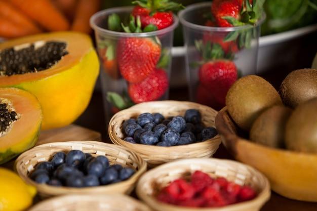 Various fruits in wicker basket