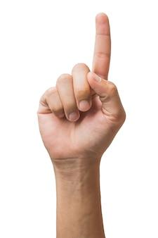 클리핑 패스와 함께 흰색 배경에 고립 된 남자의 손의 다양 한 제스처와 기호.