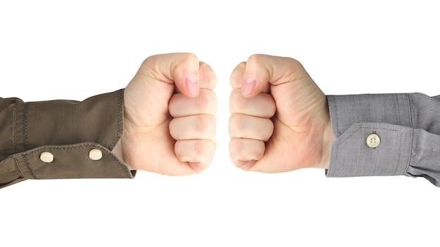 흰색 배경에 서로 사이의 남성 손의 다양한 제스처