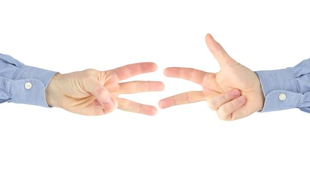 흰색에 서로 사이의 남성 손의 다양한 제스처. 사회의 제스처 관계. 상대방과 손의 도움에 대한 토론과 이해