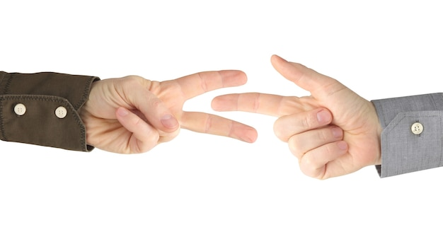 흰색에 서로 사이의 남성 손의 다양한 제스처