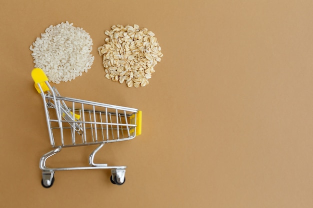 Various groats in grocery cart rice and oatmeal