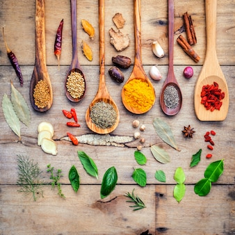 Various herbs and spices in wooden spoons.