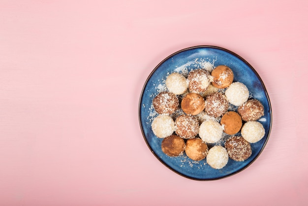Various homemade raw vegan truffles or energy balls
