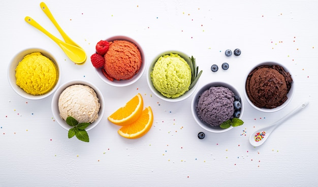 Various of ice cream flavor ball blueberry set up on white wooden