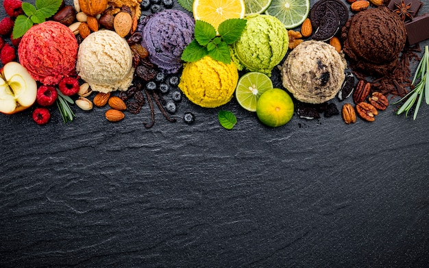 Various of ice cream flavor ball set up