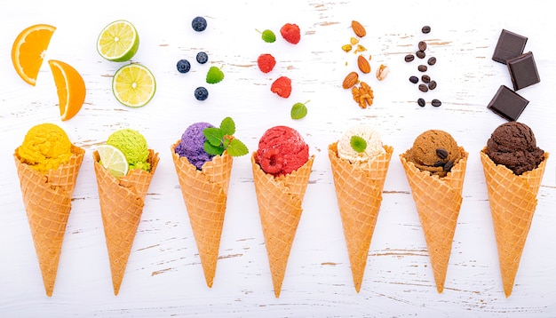 Various of ice cream flavor in cones setup on shappy