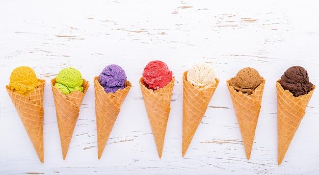 Various of ice cream flavor in cones