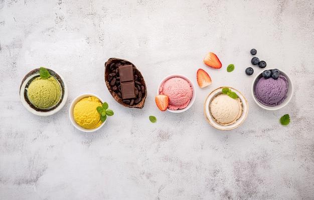 Various ice cream flavors in ceramic bowls