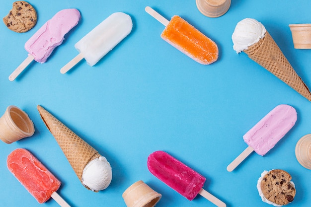 Various of ice cream flavours frame