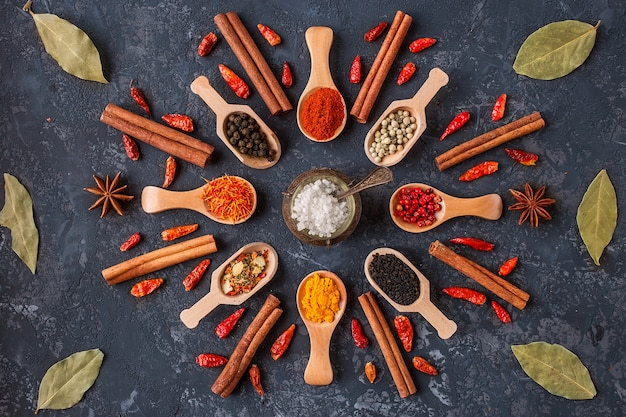 Various indian spices in wooden spoons, seeds, herbs on dark stone table. colorful spices. organic food, healthy lifestyle, space for text
