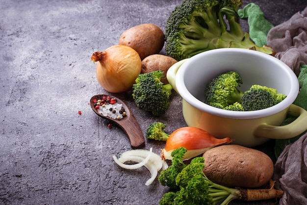 Various ingredients for cooking vegetable soup. vegan food.