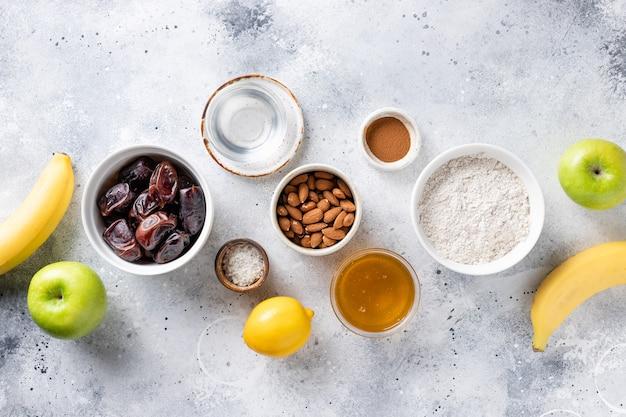 Various ingredients for vegan baking