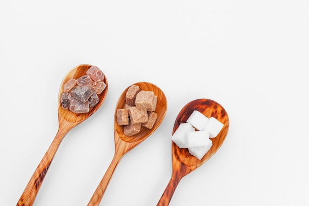 Various kinds of sugar in spoon