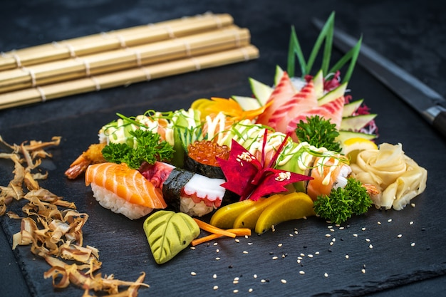 Various kinds of sushi food