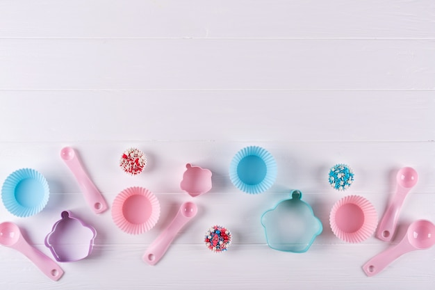 Various kitchen baking utensils. flat lay. top view, mockup for recipe on white background.