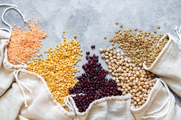 Various legumes in eco bag