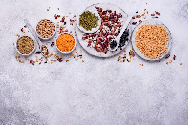 Various legumes. lentils, different beans, dried pea, chickpea, and mung bean