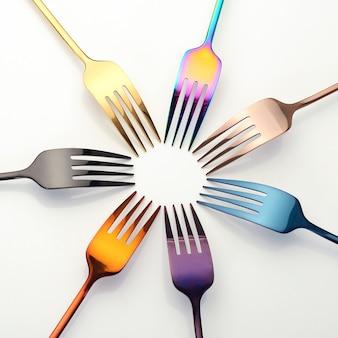Various metal forks on white background