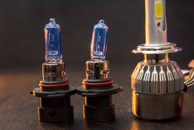 Various modern ice bulbs for auto headlight. scientific advances in the manufacture of car lights