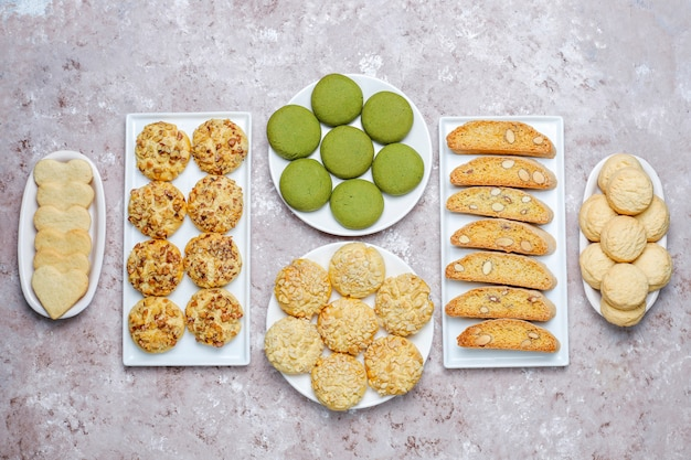 Various nut cookies walnut cookies,peanut cookies,almond cookies and matcha cookies, top view