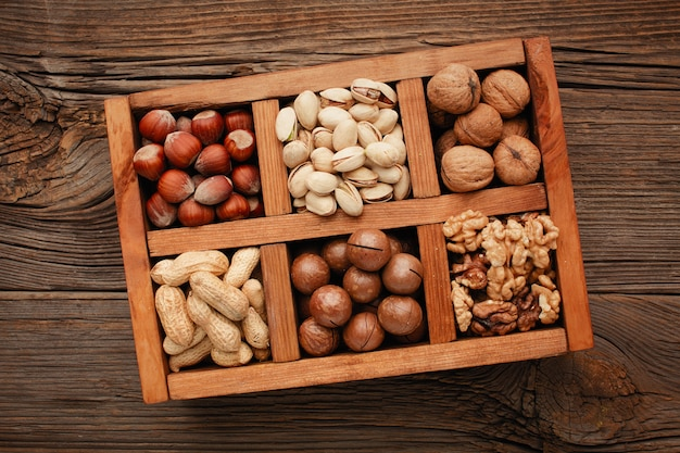 Various nuts selection in a wooden box