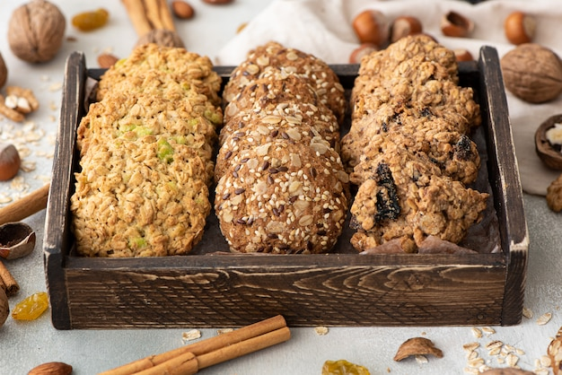 Various oatmeal cookies with nuts, dried fruits and candied fruits