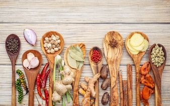 Various of spices and herbs in wooden spoons .