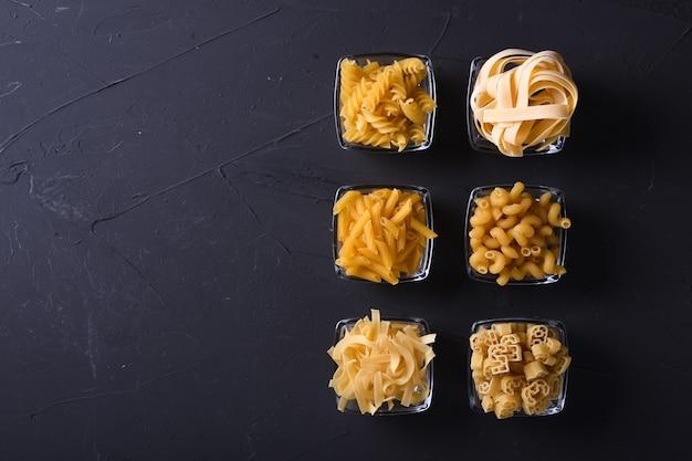 Various pasta. cooking . top view