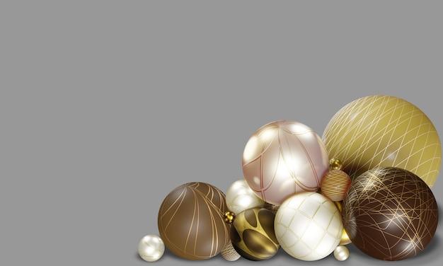 装飾的なテキストの3dイラストのためのスペースと灰色の背景にお祝いの楽しい3dジオメトリのさまざまなパターンボール