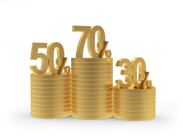 Various percentages of discounts on stacks of gold coins