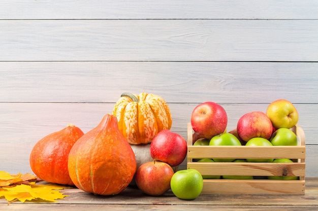 Various pumpkins with colorful maple leaves and ripe apples in a box against light wooden wall