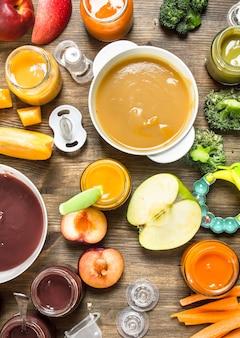 Разнообразные пюре из фруктов и овощей.