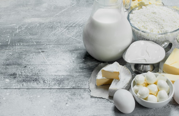 Various range of dairy products . on a rustic.