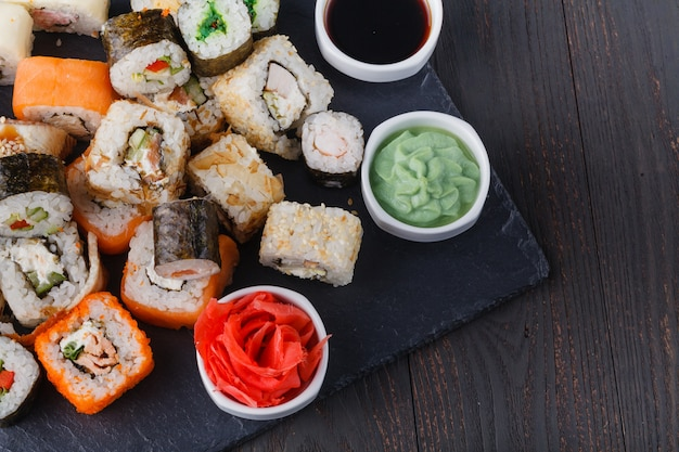 Various roll with salmon, avocado, cucumber. sushi menu. japanese food