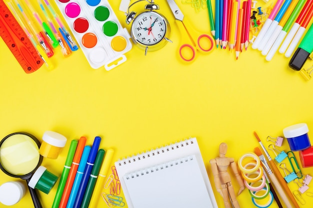 Various school and painting supplies