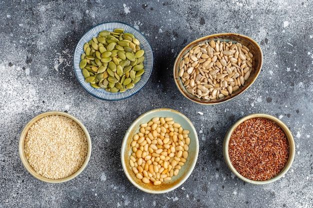 Various seeds - sesame, flax seed, sunflower seeds, pumpkin seeds for salads.
