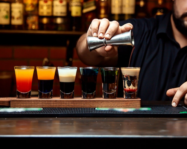 Various selection of cocktail shots