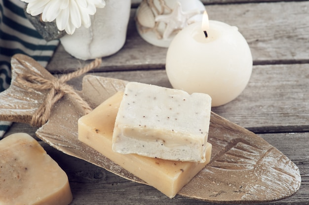 Various soap on old wood