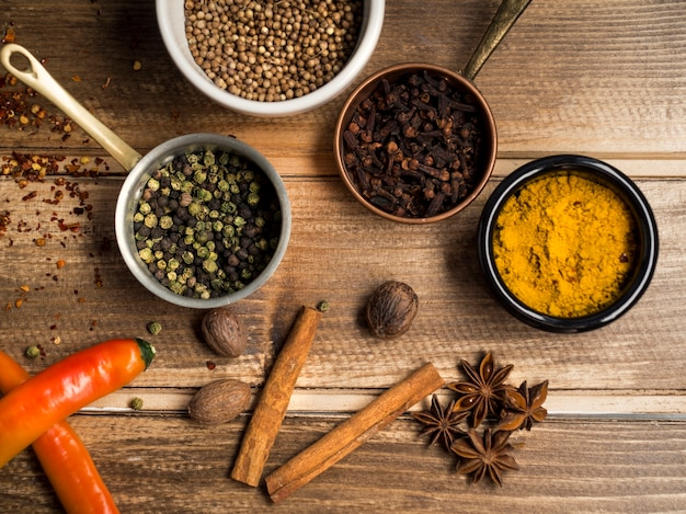 Various spices composition on table