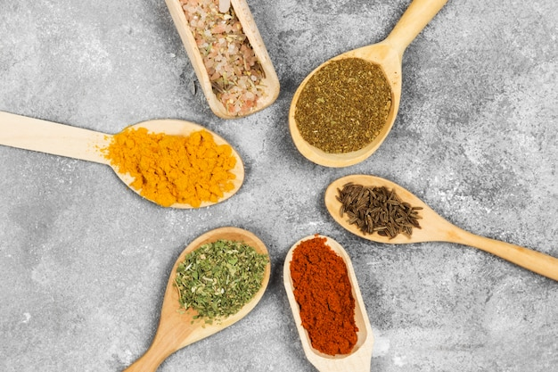 Various spices on a gray background. top view. food background
