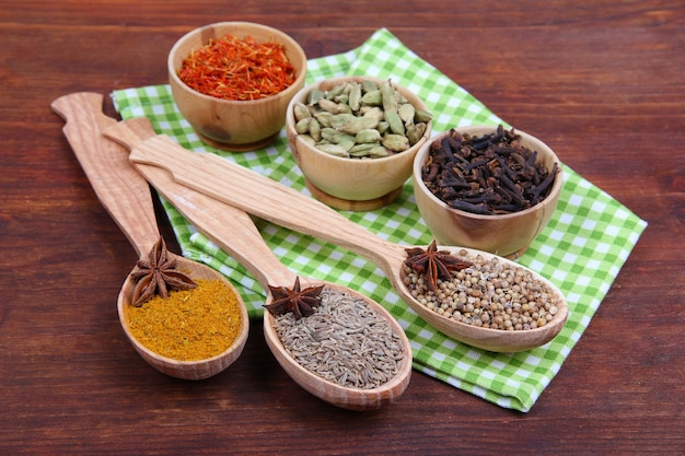 Various spices and herbs on wooden