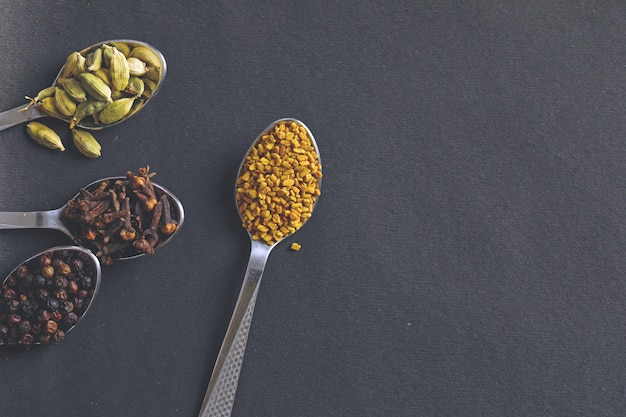 Various spices in  spoons on white background.