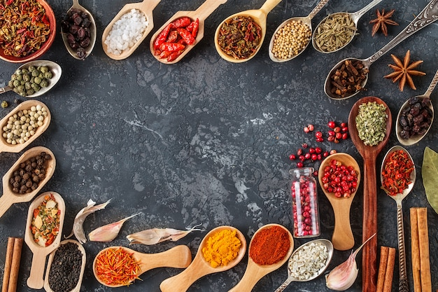 Various spices in wooden spoons on dark wood