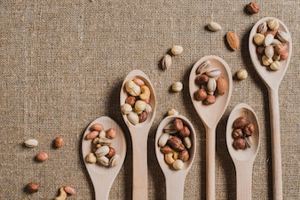 Various spoons with nuts