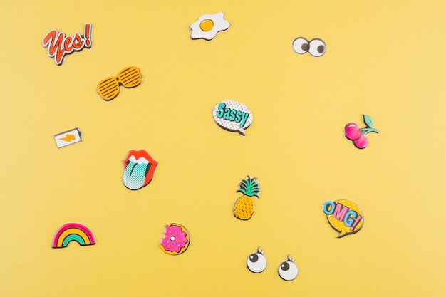 Various sticker on yellow background